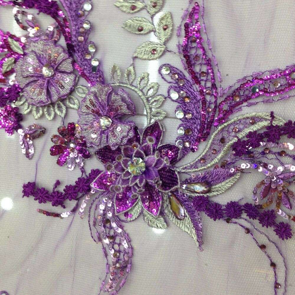 Floral embroidery lace fabric beads sequins handmade mesh