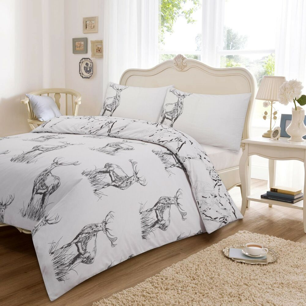 Duvet Cover Sets Stag Printed Luxury Single Double King