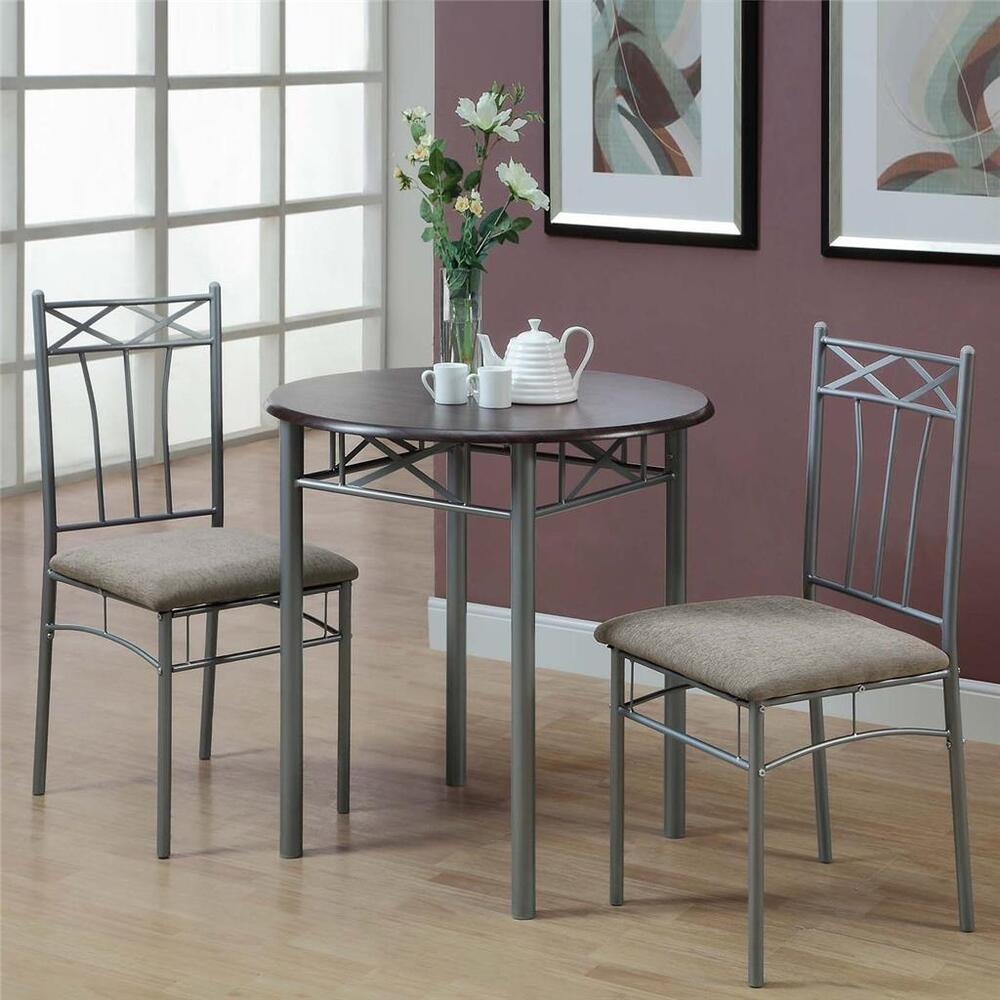 Cappuccino finish 3 piece bistro small dining set kitchen for Small dining table set
