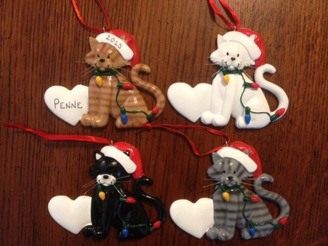 Personalized cat with lights christmas ornament ebay for Customized photo christmas ornaments