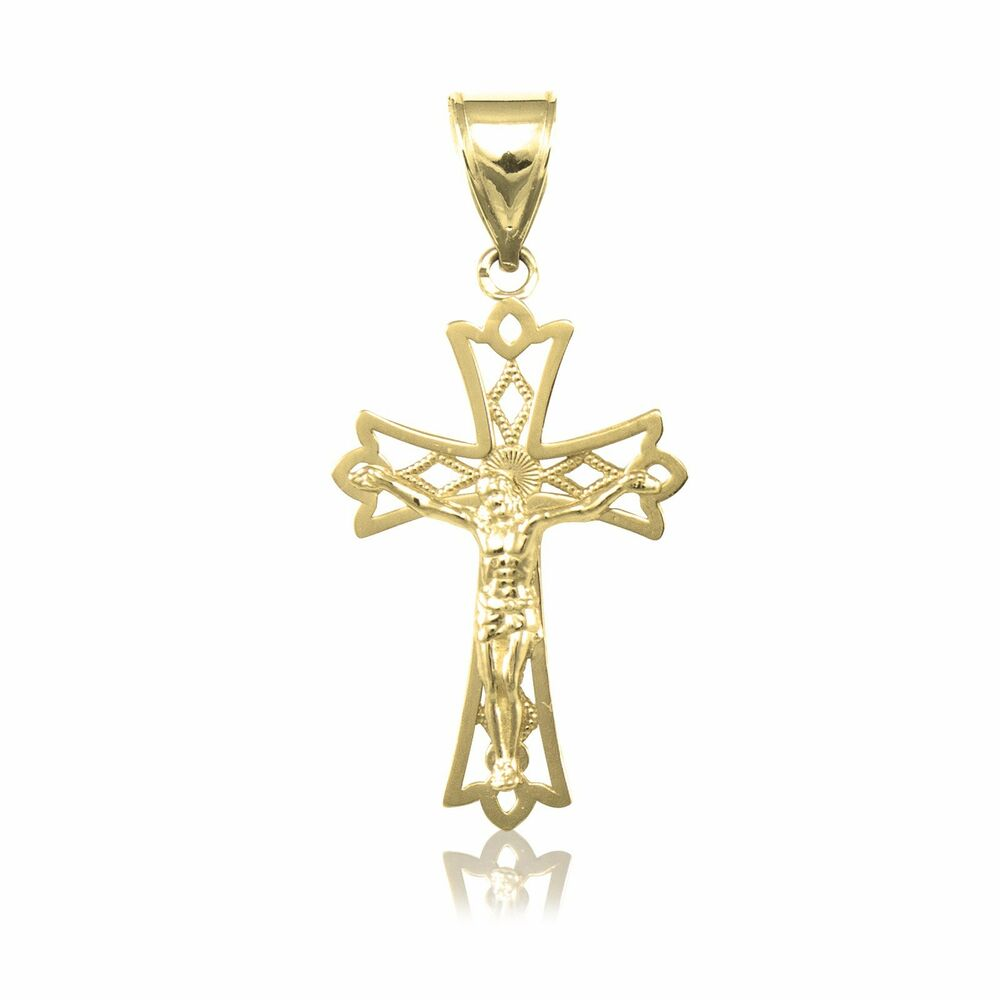 10k solid yellow gold crucifix cross pendant jesus. Black Bedroom Furniture Sets. Home Design Ideas