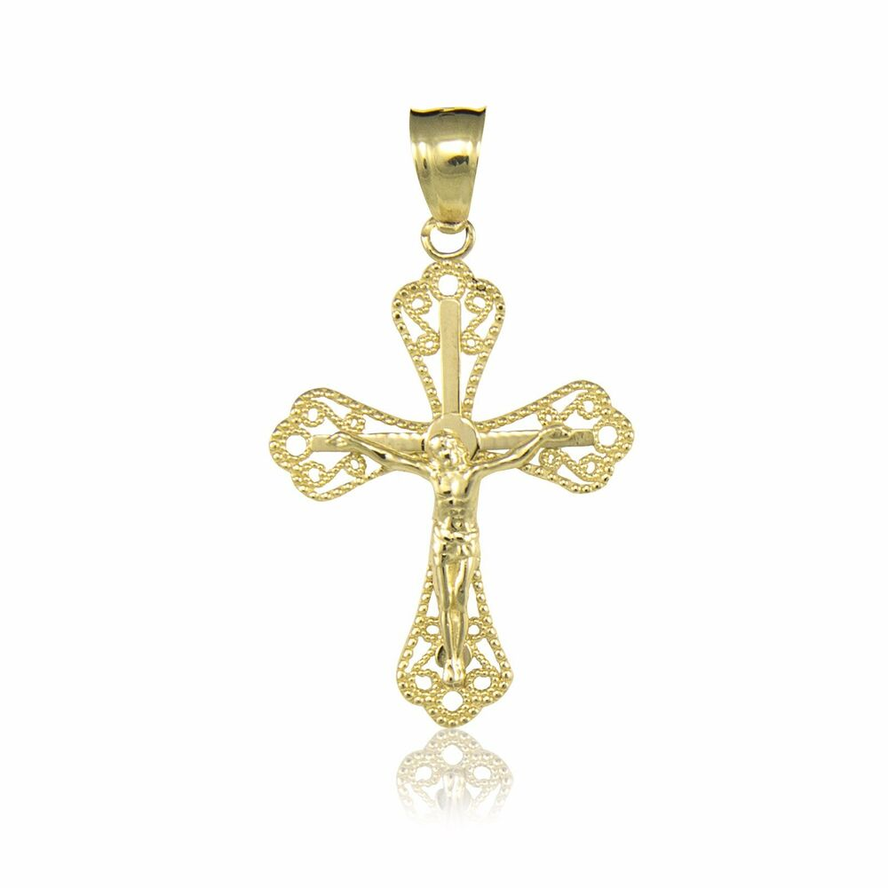 10K SOLID YELLOW GOLD Crucifix Cross Pendant
