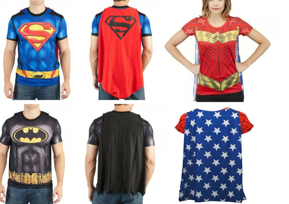 Dc comic batman superman wonder woman t shirt with cape for Costume t shirts online