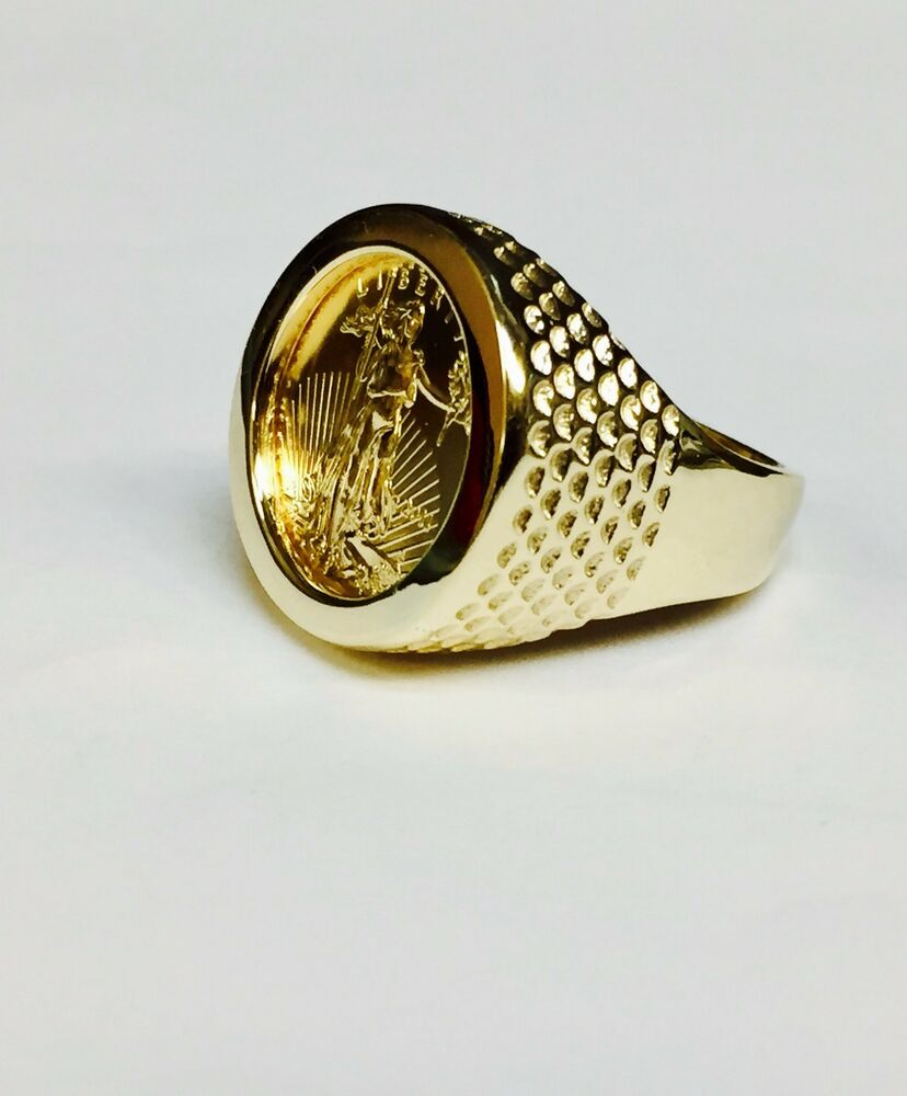 14k Gold Men S 20 Mm Coin Ring With A 22 K 1 10 Oz