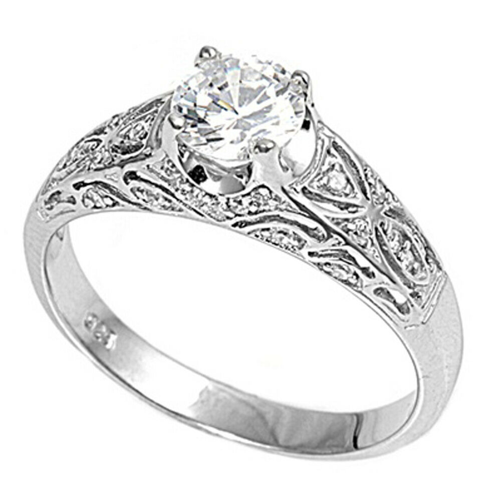 Sterling Silver Womanu0026#39;s Clear CZ Engagement Ring Cute 925 Band 6mm Sizes 3-12 | EBay