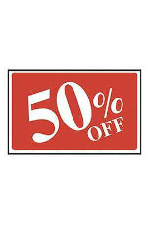 Printable Sign For Sale: Count Of 10 Plastic Red With White Printed 50% Off Sale
