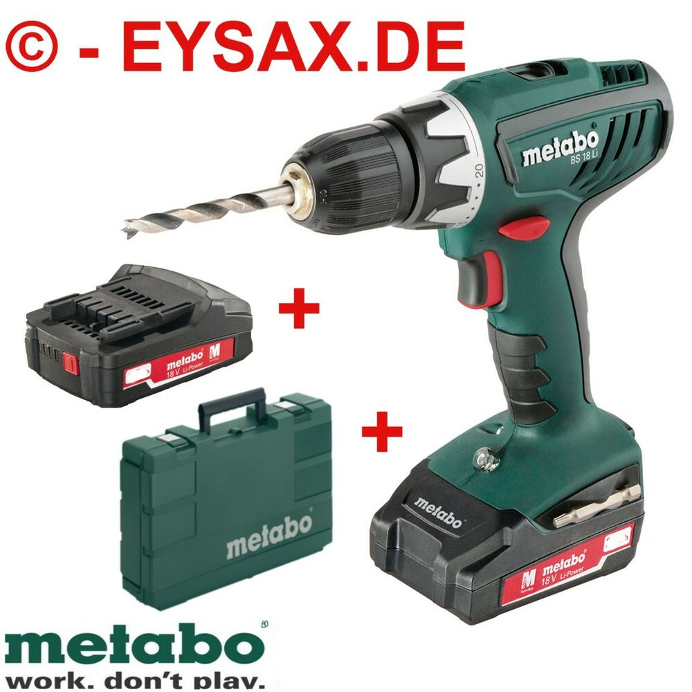 metabo akku bohrschrauber bs 18 li koffer 2 x akku 18 volt technik ebay. Black Bedroom Furniture Sets. Home Design Ideas