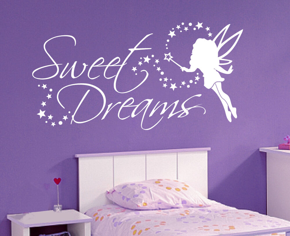 sweet dreams fee sterne deko schlafzimmer kinderzimmer wandaufkleber wandtattoo ebay. Black Bedroom Furniture Sets. Home Design Ideas