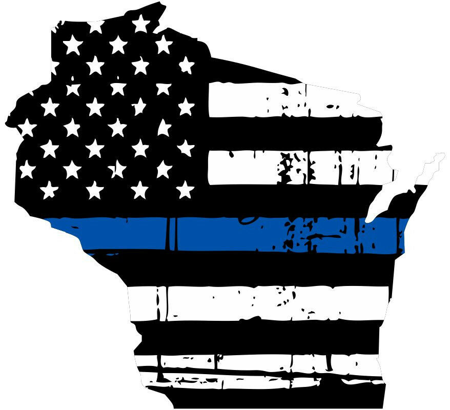 Thin Blue Line Decal State Of Wisconsin Tattered Flag