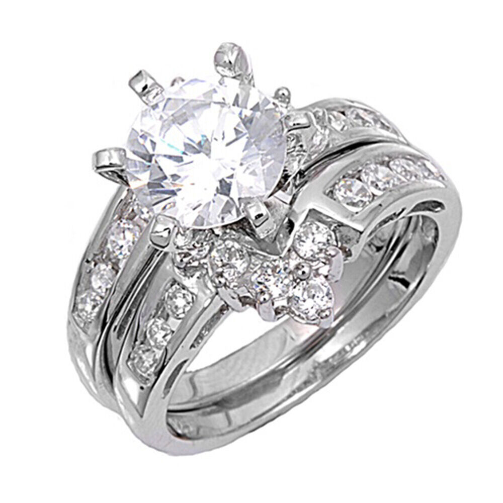 halo wedding ring sets sterling silver custom engagement ring wedding band bridal 4682