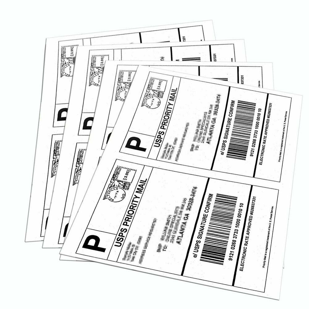 4000 half sheet shipping labels 85x55 self adhesive for for Half page shipping labels