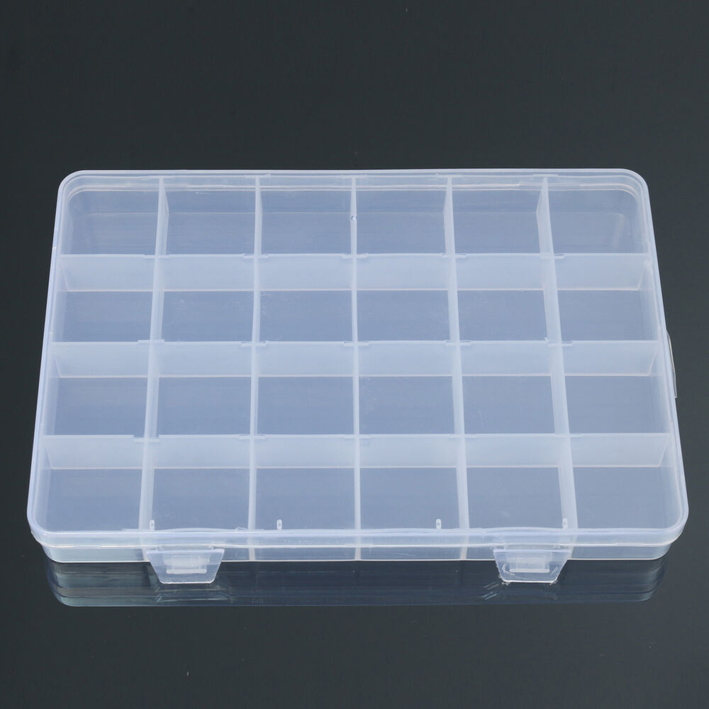 Jewellery Packaging And Bead Storage With: 24 Compartments Plastic Box Case Jewelry Bead Storage
