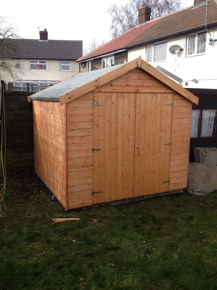 8x8 double door garden shed ebay for Garden shed 8x8