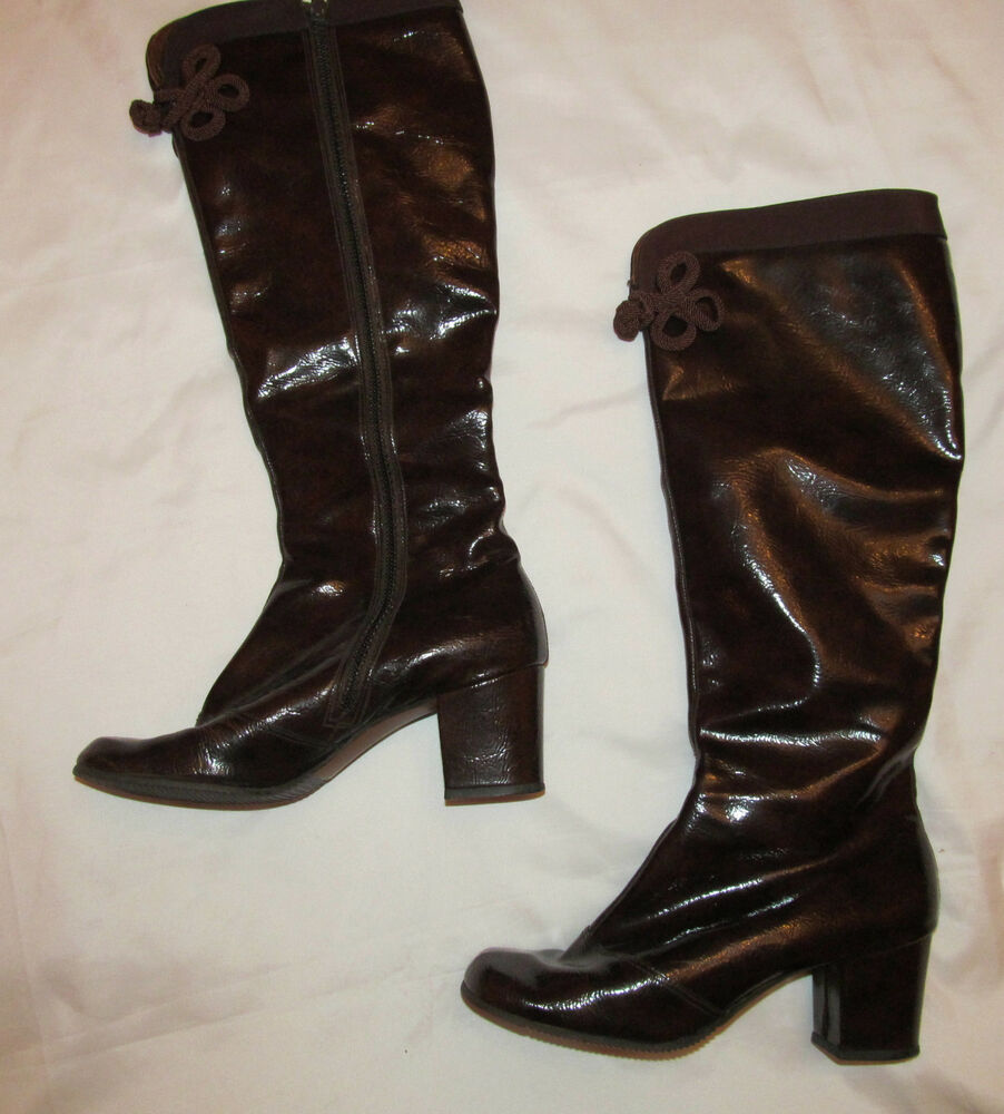 vintage 60 s go go mod twiggy brown marbled patent leather