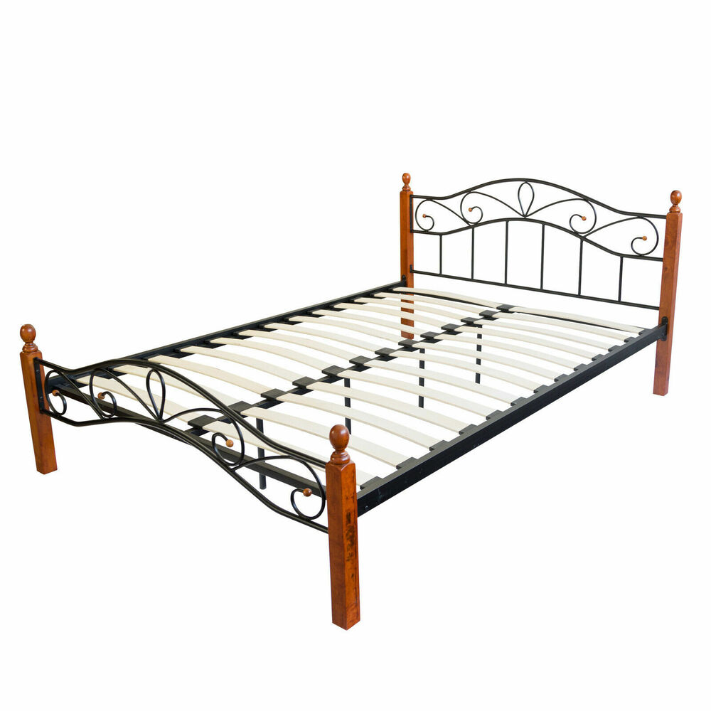 bett metallbett bettgestell doppelbett bettrahmen inkl lattenrost 180 x 200 cm ebay. Black Bedroom Furniture Sets. Home Design Ideas