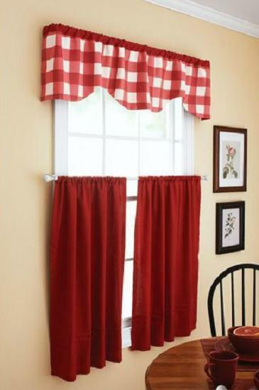 Red Country Cottage Plaid Kitchen Window Curtains Tier Valance Set Ebay