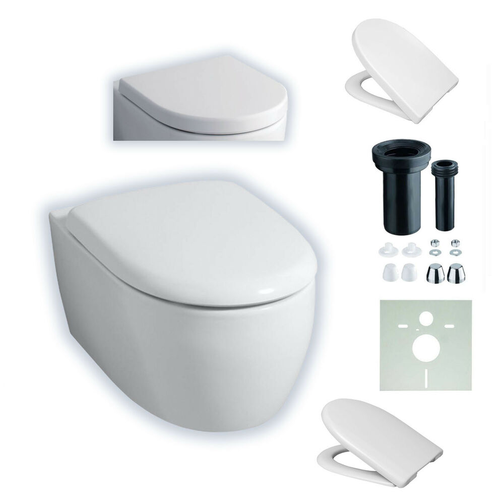 keramag 4u icon 203460 204060 wand wc sp lrandlos wc sitz softclose ebay. Black Bedroom Furniture Sets. Home Design Ideas