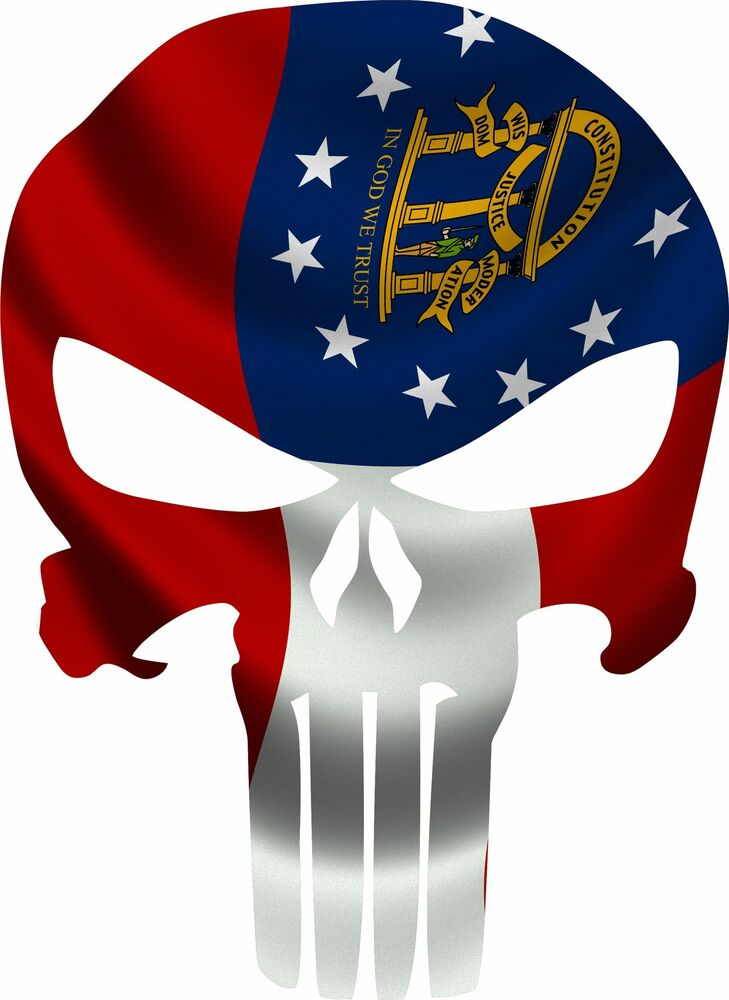 Punisher Skull State of Georgia Flag Decal