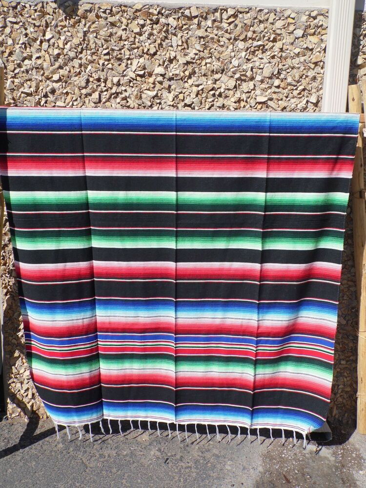 serape xxl 5 39 x7 39 mexican blanket hot rod seat covers motorcycle black mix ebay. Black Bedroom Furniture Sets. Home Design Ideas