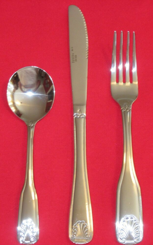 surf collection silverware set in new sysco flatware service for 4 8 12 surf shell forks 871