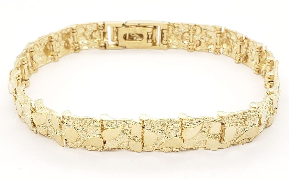 mens 14k solid gold nugget adj bracelet 82quot inches 92