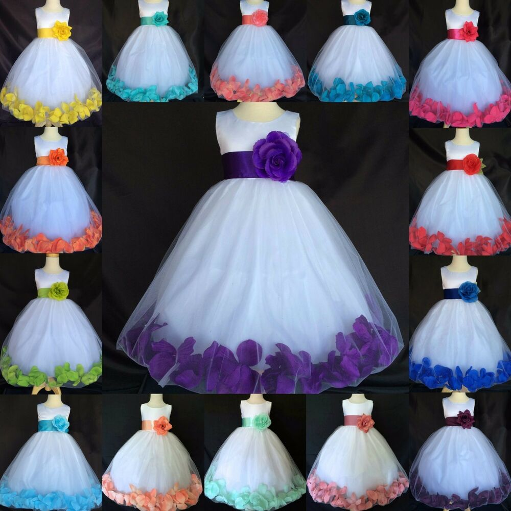 039de15e6 White Tulle Rose Petal Dress Satin Flower Girl Easter Wedding ...