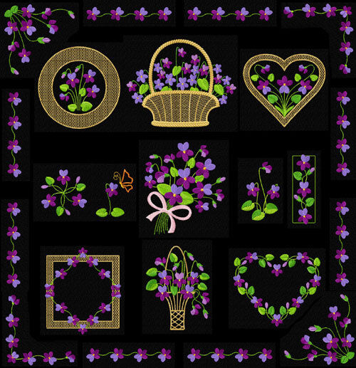 Violets 14 machine embroidery designs set for 5x7 hoop ebay for Embroidery office design version 7 5