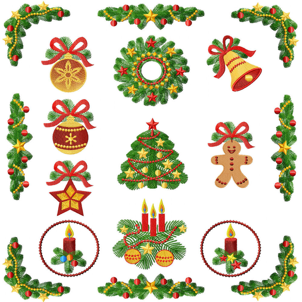 Christmas Tree Motifs Machine Embroidery Designs 5x7
