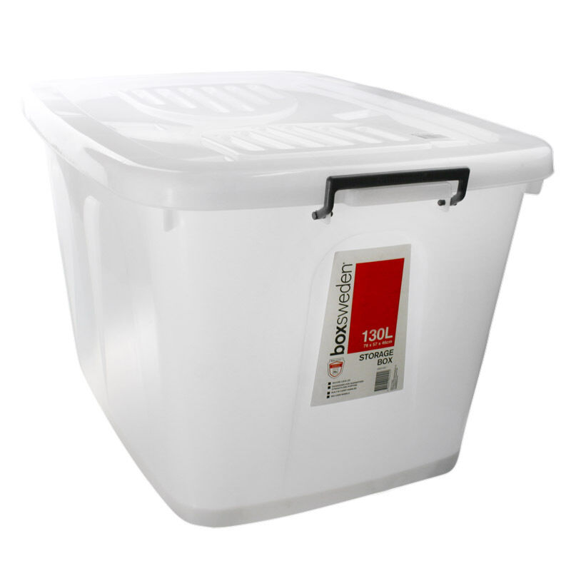 10 x 130lt large white clear plastic storage tubs containers roller lids ebay. Black Bedroom Furniture Sets. Home Design Ideas