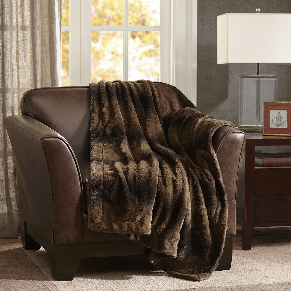 Ultra soft plush luxurious warm brown charcoal faux for Soft blankets and throws