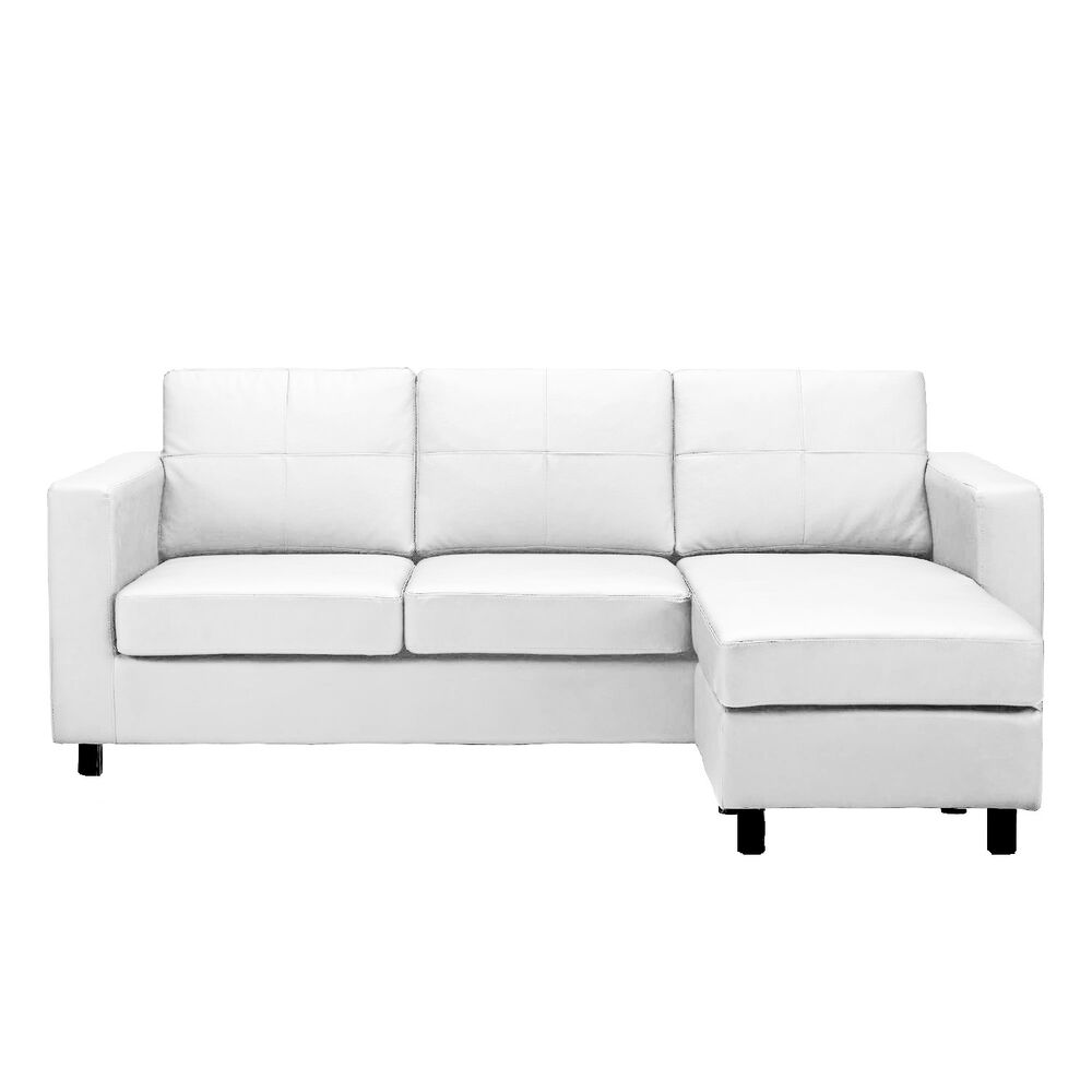 Modern White Bonded Leather Small Sectional Sofa Small