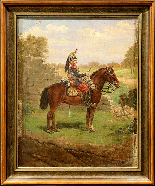 American 20th Century Antique Oil Painting Of Soldier On