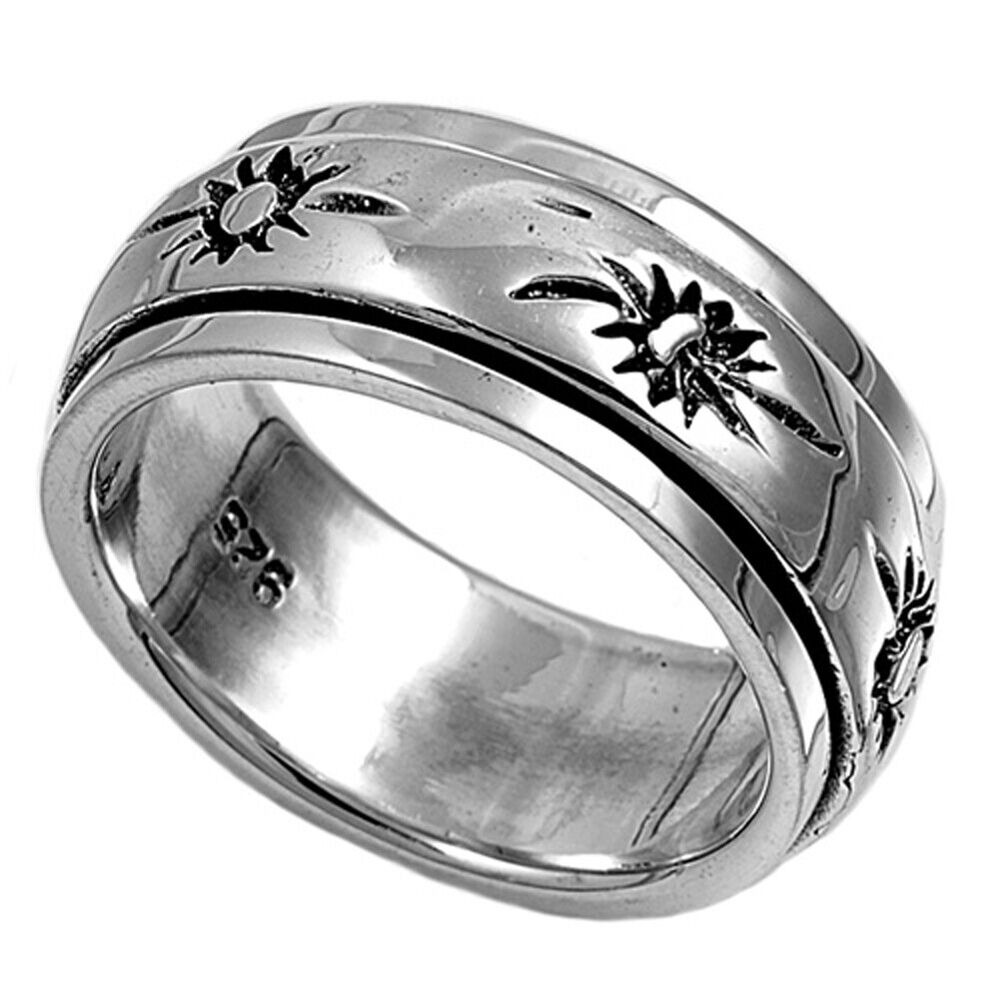 Sterling Silver Woman's Men's Spinner Sun Ring Beautiful Band 9mm Sizes 5-13 | eBay