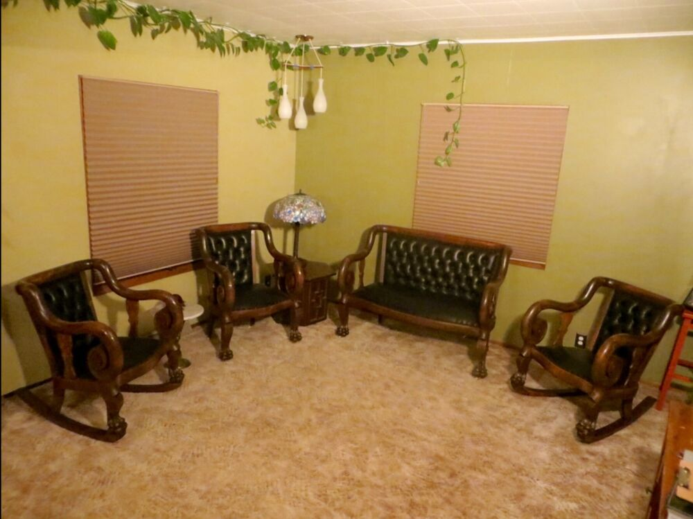 Antique Parlor Set Leather Ebay
