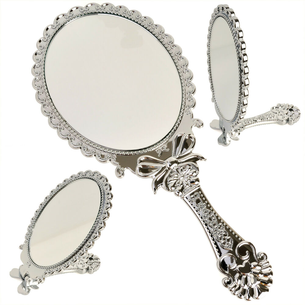 Small decorative vintage antique style silver hand held for Old style mirror