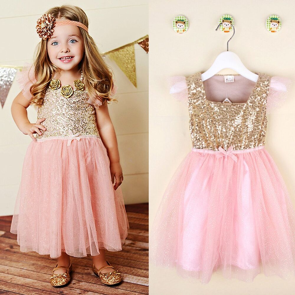 Flower Girl Princess Sequins Dress Toddler Baby Wedding