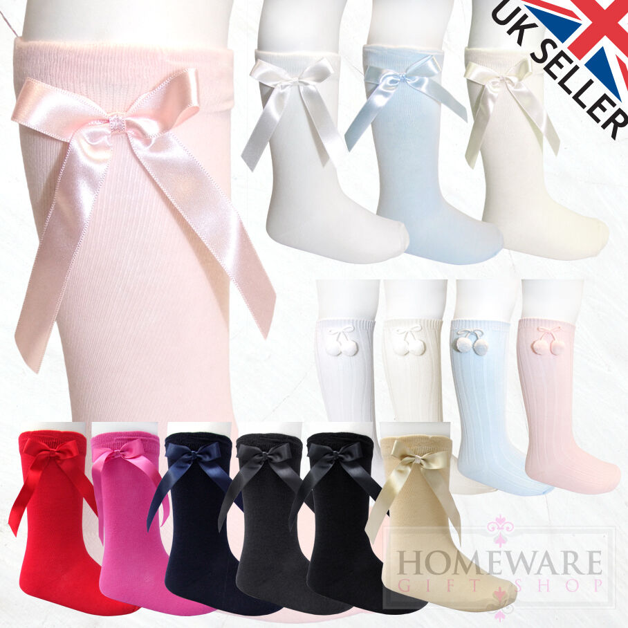 8dbdadbffd4b2 GIRLS BOYS KNEE HIGH SPANISH SOCKS BOW   POM POM BABY KIDS UK SHOE SIZE PEX  SALE