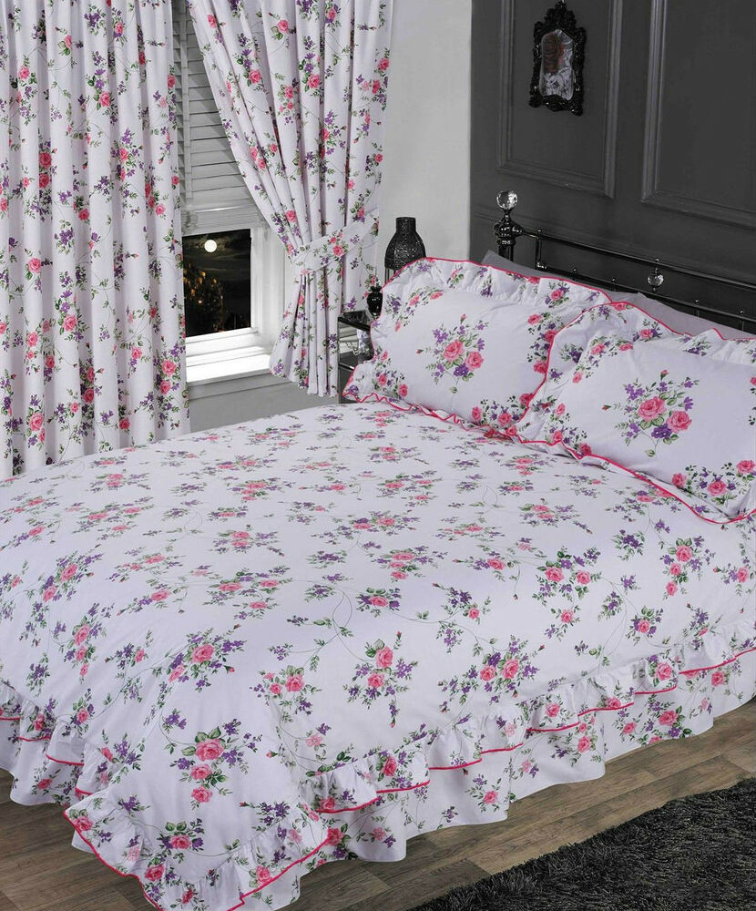Beautiful Linens: WHITE & PURPLE FLORAL FRILLED DUVET COVER BEAUTIFUL
