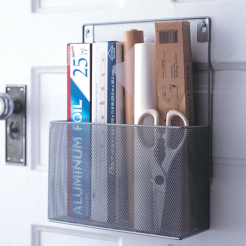 Mesh Silver Metal Pantry Wall Foil Shrink Wrap Caddy