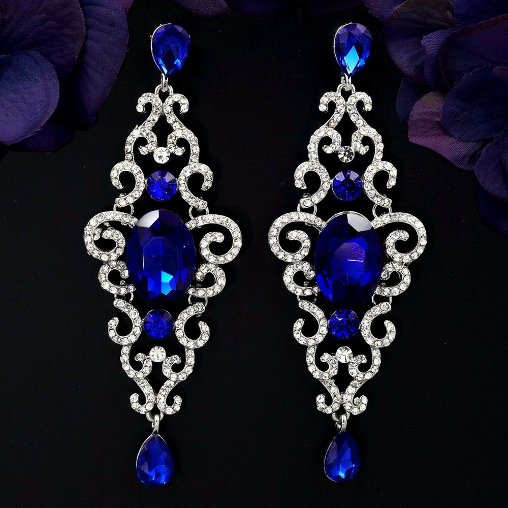 Rhodium Plated Blue Sapphire Crystal Rhinestone Drop ...
