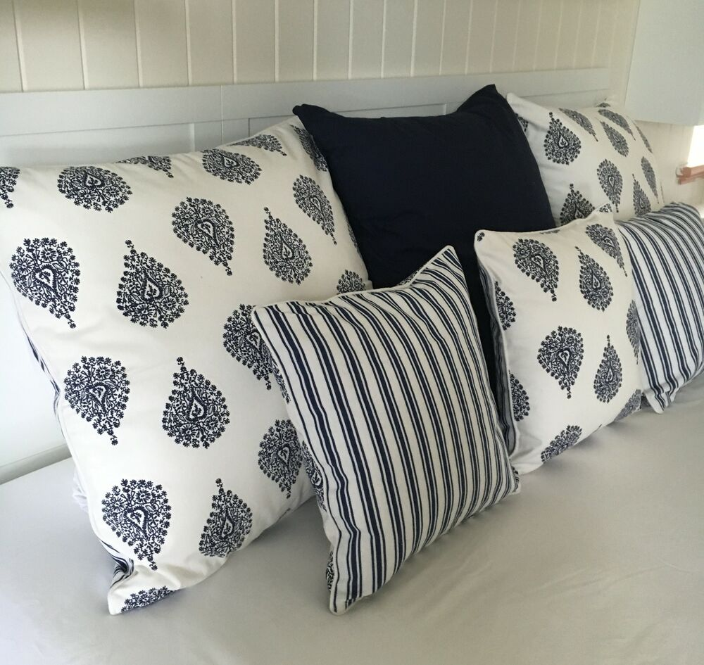 Large Cushion Cover Navy White Stripe Paisley Ornamental