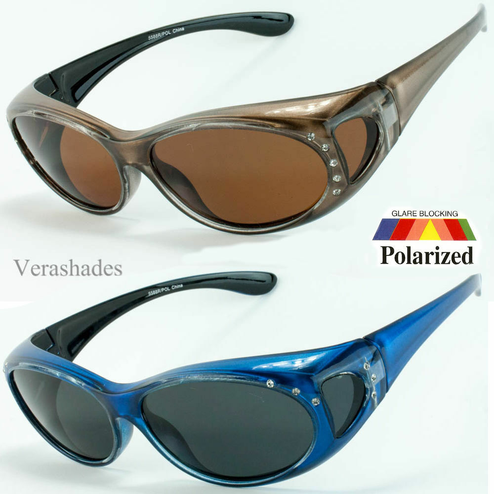cec2868913be6 Details about New Womens Rhinestone POLARIZED Oval Lens Cover Fit Over  Sunglasses  M