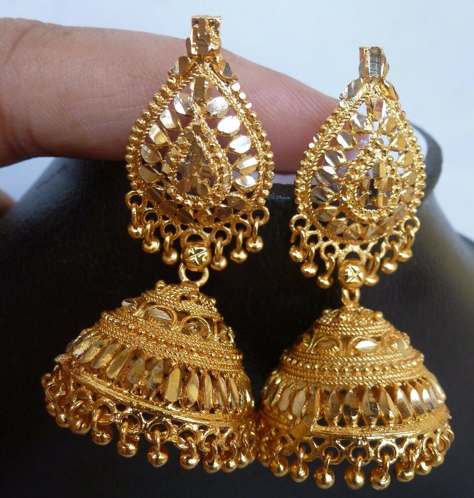 Indian 22k Gold Plated Wedding Necklace Earrings Jewelry: South Indian Gold Plated 3.5 Cm Long Jhumka Jhumki Bridal