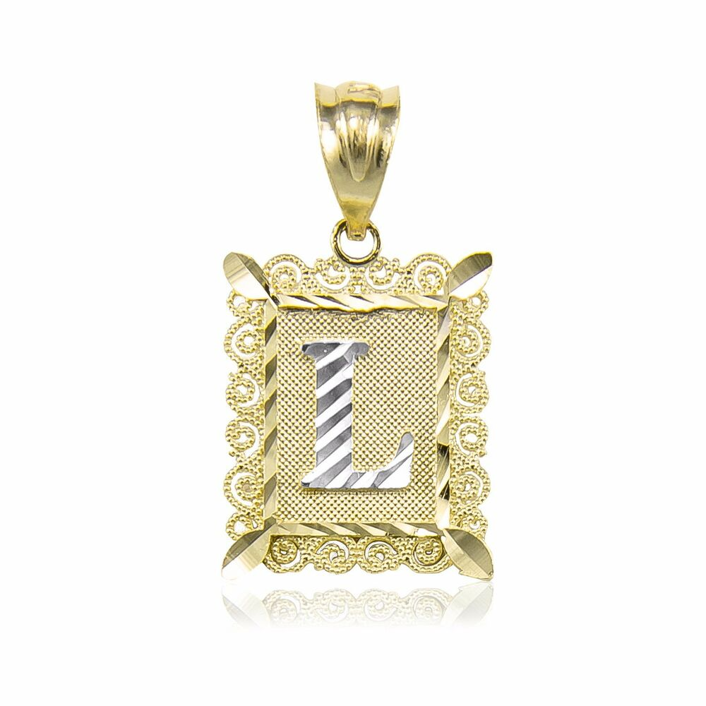 14k solid yellow gold initial letter plate pendant a z. Black Bedroom Furniture Sets. Home Design Ideas