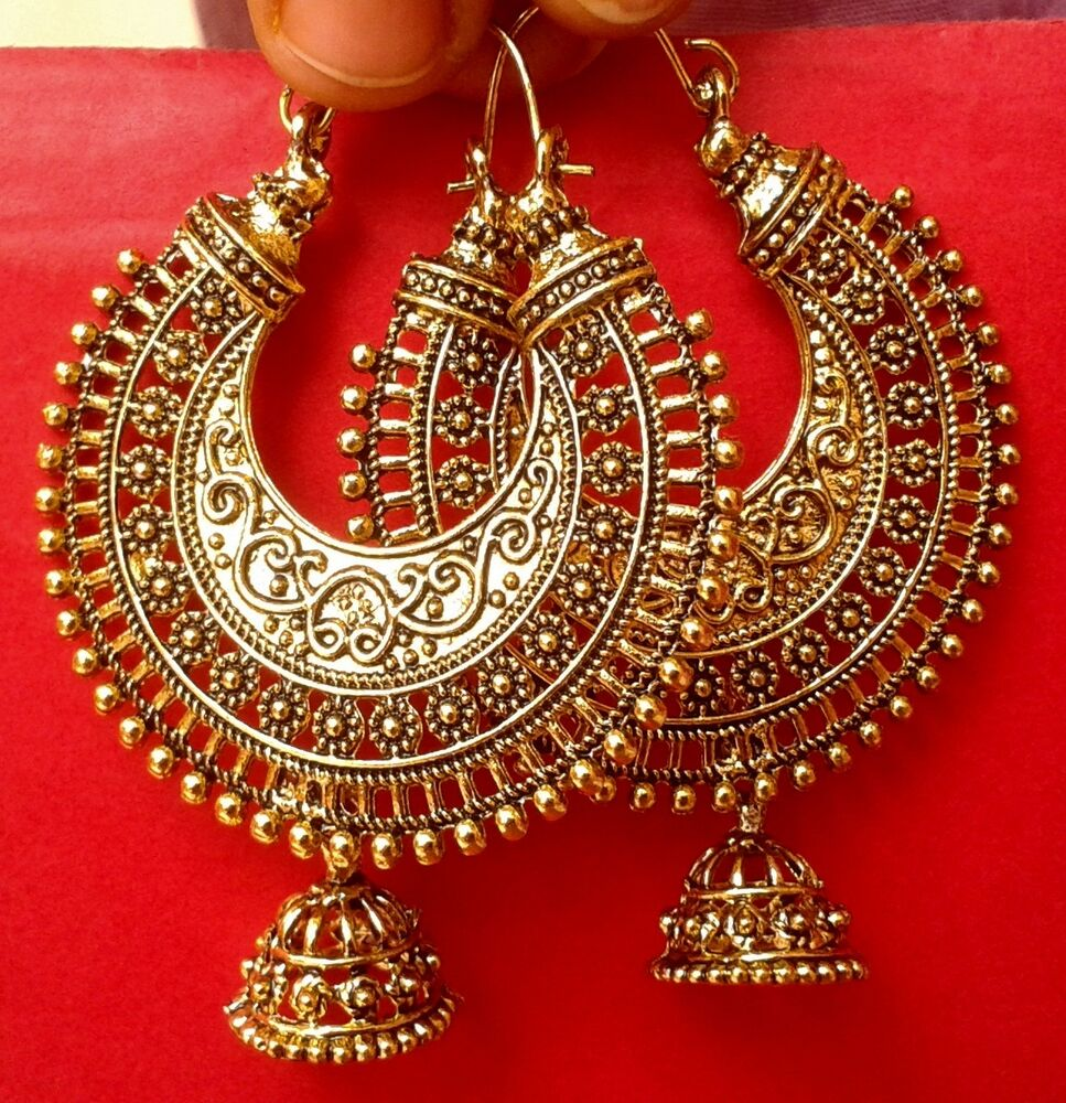 Indian Earring Bollywood Ethnic Jewelry Gold Tone Oxidized