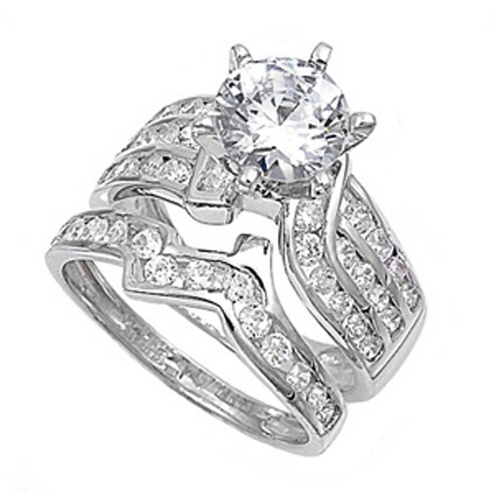 Sterling Silver Designer Engagement Ring Wedding Band Bridal Set CZ Sizes 4 1
