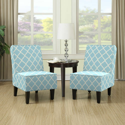 Modern Classic Armless Accent Chair Set 2 Turquoise Blue