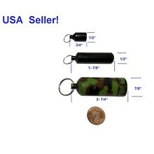 3 Small Black Aluminum Pill Bottle Case Box Holder Container Capsule Keychain