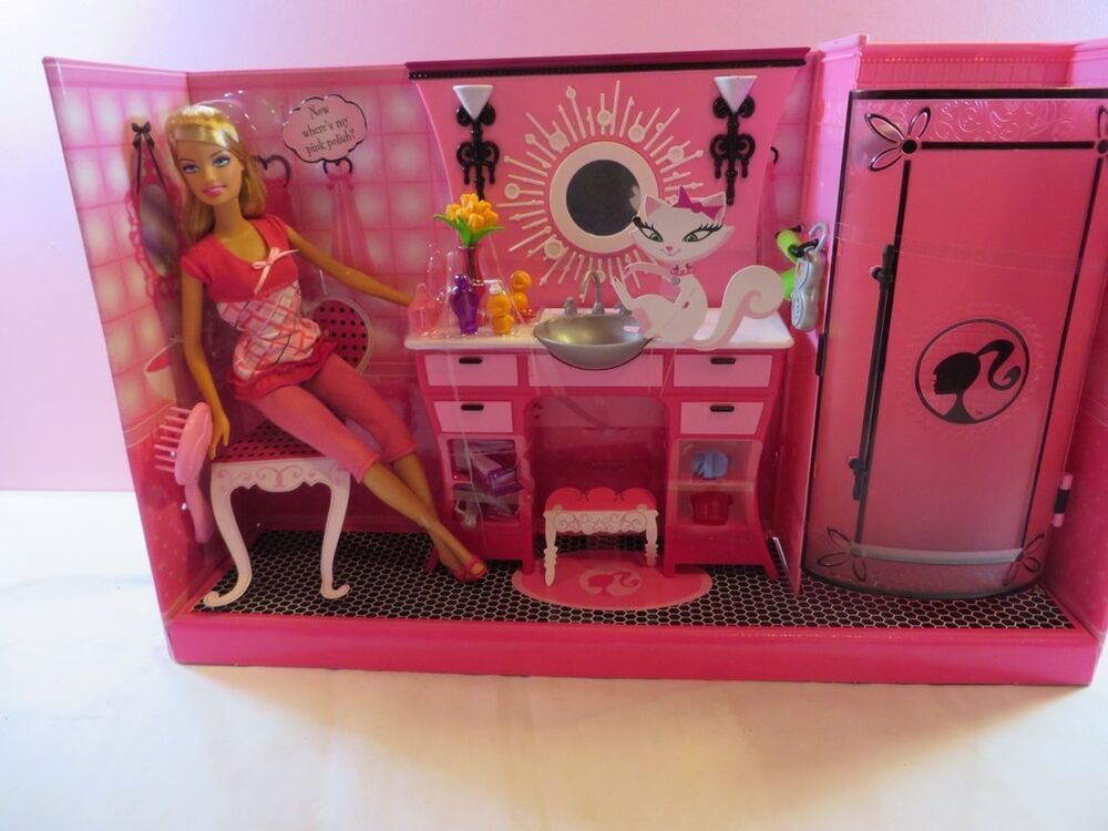 Mattel Barbie Pink Glam Dream Bathroom Set Shower Sink ...