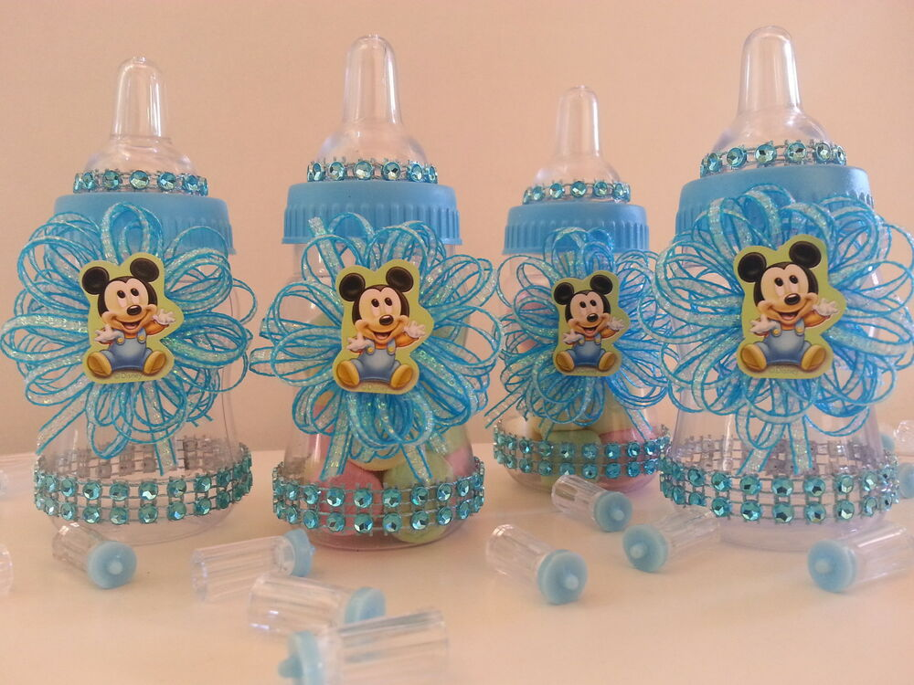 12 baby mickey mouse fillable bottles baby shower favors for Baby shower favors decoration
